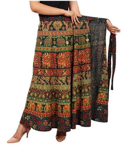 Cotton Women's Long Wrap Around Skirt Jaipuri Printed