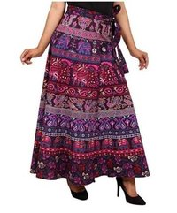 Antique Indian Cotton Hand Printed Wrap Skirts