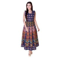 Floral Traditional Printed Cotton Long  Dress
