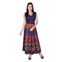 Jaipuri Rajasthani Printed Cotton Maxi Frock Dress