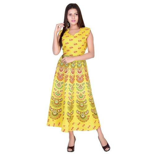 Animal printed Traditional Cotton Long Dress Women