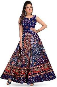 Jaipuri Print Cotton Long Dress