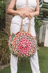 Cute and Colorful Eco-Friendly Hand Woven Jute Round Beach Bag