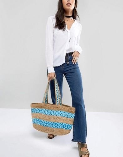 Multi Hand Woven Jute Beach Bag