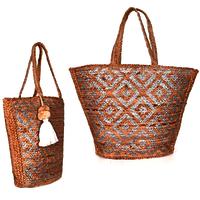 Handwoven Natural & Metallic Silver Jute Print Bag
