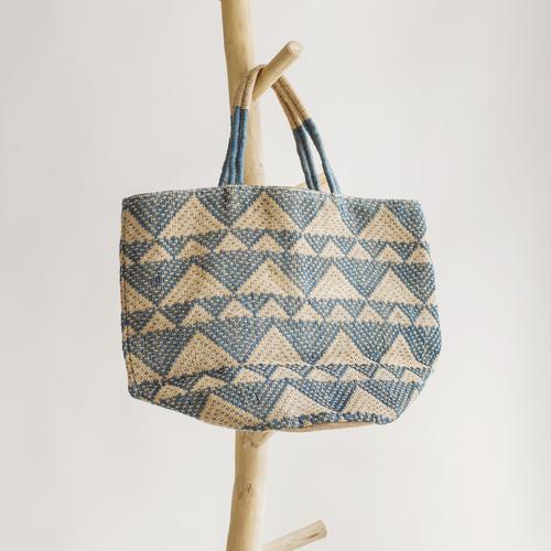 Printed Blue Color Jute Beach Bag