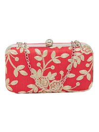 Handcrafted Party Wear Hand Embroidered Box Clutch
