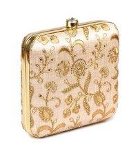 Women's Silk Hand Embroidered Box Clutch Bag