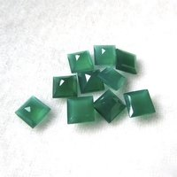 4mm Green Onyx Faceted Square Loose Gemstones