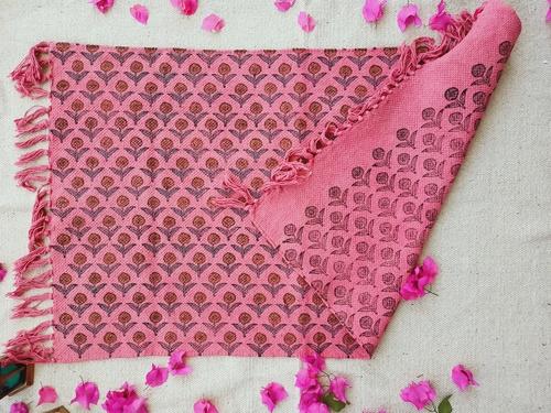 Pink Floral Print Dhurrie