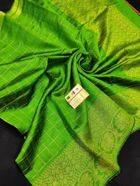 Pure raw silk jari checks woven saree with beautifull floral border ,jala pallu .