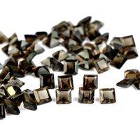 5mm Smoky Quartz Faceted  Square Loose Gemstones