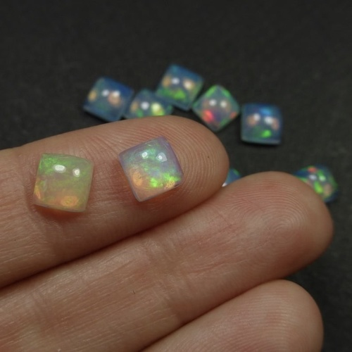3mm Ethiopian Opal Square Cabochon Loose Gemstones