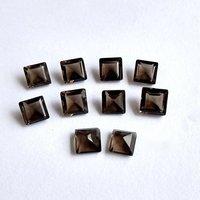 8mm Smoky Quartz Faceted  Square Loose Gemstones