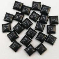 9mm Black Spinel Square Cabochon Loose Gemstones