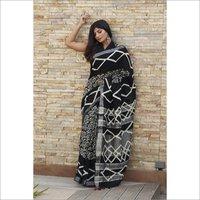 Hand Block Printed Linen Fabric Saree