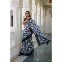 Hand Block Printed Soft Cotton Mulmul Fabric Saree