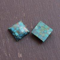 9mm Blue Copper Turquoise Square Cabochon Loose Gemstones