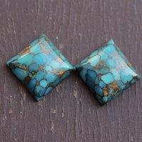 12mm Blue Copper Turquoise Square Cabochon Loose Gemstones