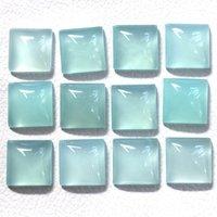 12mm Aqua Chalcedony Square Cabochon Loose Gemstones
