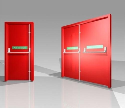Red Fire Resistant Swing Door