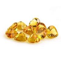 7mm Citrine Faceted Heart Loose Gemstones