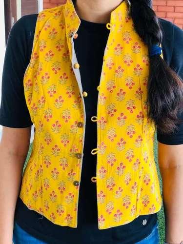 Yellow Printed Reversible Jacket