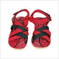 Ladies PU Black And Red Sandal