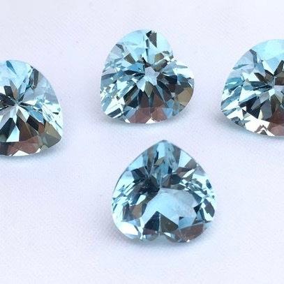 5mm Sky Blue Topaz Faceted Heart Loose Gemstones