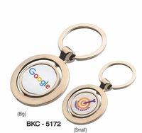Round Rotate Silver Keychain