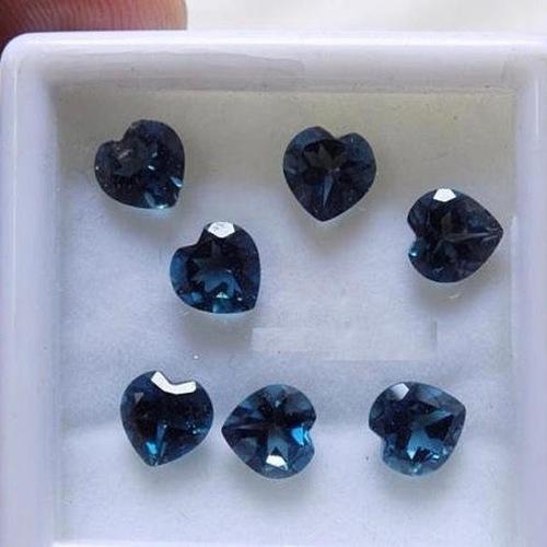 8mm London Blue Topaz Faceted Heart Loose Gemstones