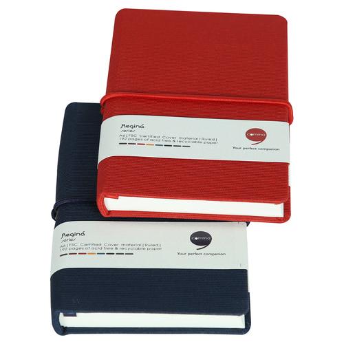 Comma Regina - A6 Size - Hard Bound Notebook (Navy Blue + Red)