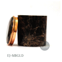 EJ-MYRAH: Metal Jar With Marble Finish