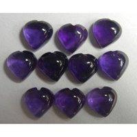 10mm African Amethyst Heart Cabochon Loose Gemstones