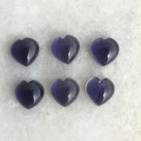 7mm Iolite Heart Cabochon Loose Gemstones