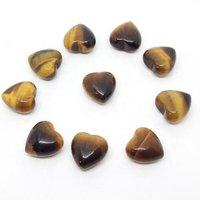 7mm Tiger Eye Heart Cabochon Loose Gemstones