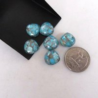 6mm Blue Copper Turquoise Heart Cabochon Loose Gemstones