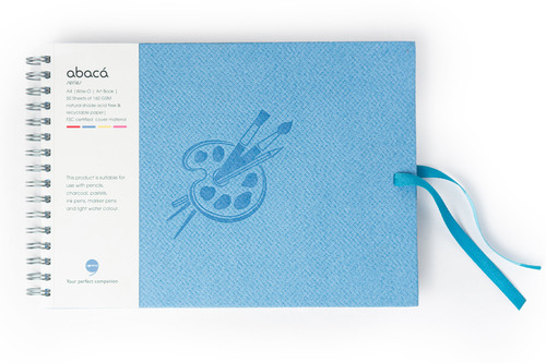 Comma Abaca - A4 size - Wire-O-Bound Sketchbook (Sky Blue)