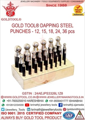 Jewellery 18 Pieces Dapping Punch Set With Domming Block & Wooden Stand