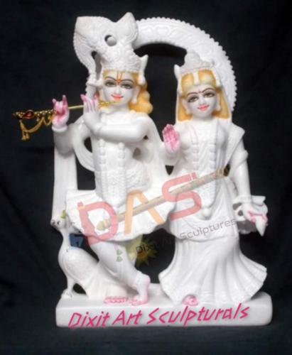 White Marble Jugal Radha Krishna Statue