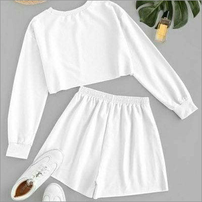 Ladies White Crop And Shorts