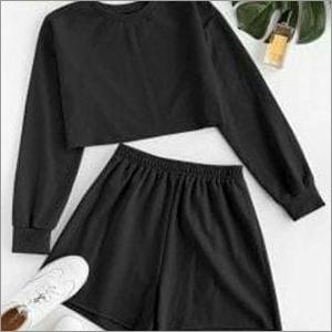 Ladies Black Crop And Shorts