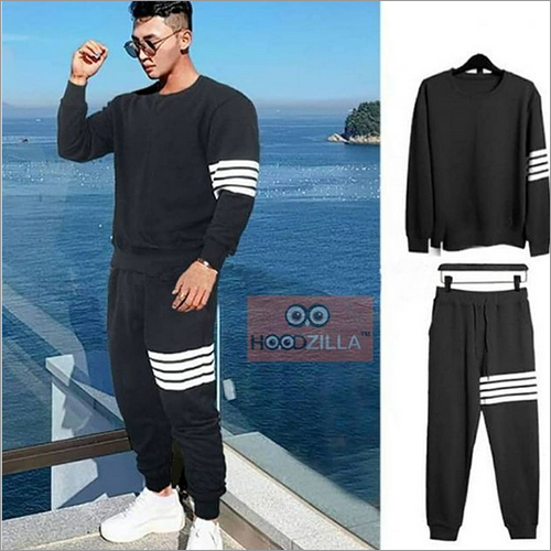 Mens Black And White Tracksuit