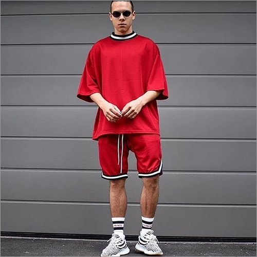Mens Red Loose Fit T-Shirt And Shorts