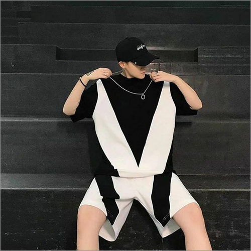 Mens Black And White Loose Fit T-Shirt And Shorts