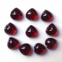 5mm Red Mozambique Garnet Heart Cabochon Loose Gemstones