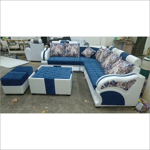 Fully Blue White Leather Sofa Set