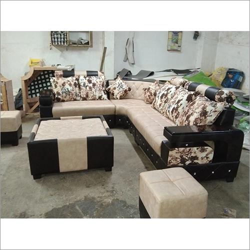 Stylish Peach White Rose Sofa Set