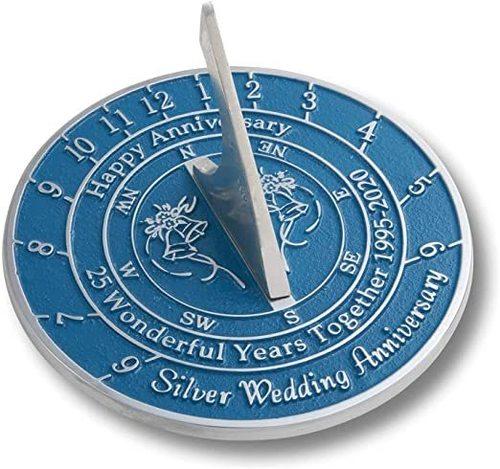 25th Silver 2020 Wedding Anniversary Sundial Gift