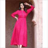 Fabric Rayon Work Printed Long Gown